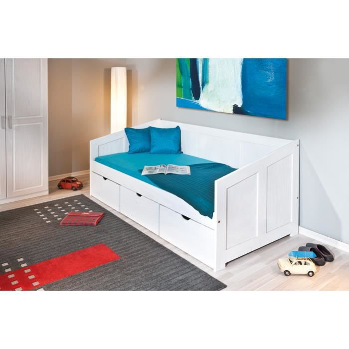lit banquette pin massif blanc henriette blanc achat. Black Bedroom Furniture Sets. Home Design Ideas
