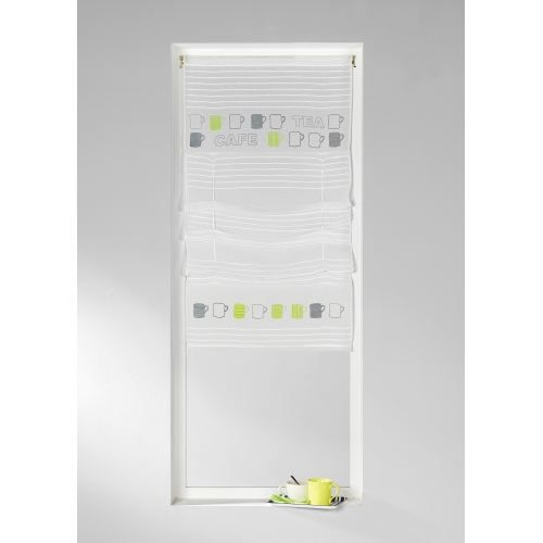 Store voilage 39 cafe tea 39 blanc 45 x 140cm achat for Store voilage fenetre