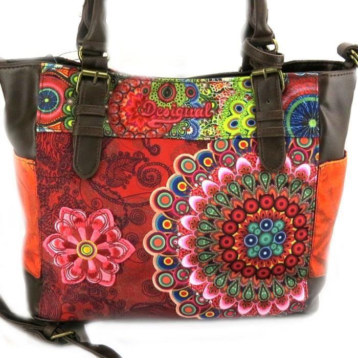 sac cr ateur desigual rouge multicolore achat vente sac main sac cr ateur desigual rou. Black Bedroom Furniture Sets. Home Design Ideas