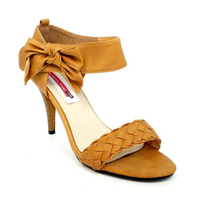 sandale talon avec un noeud co camel achat vente. Black Bedroom Furniture Sets. Home Design Ideas