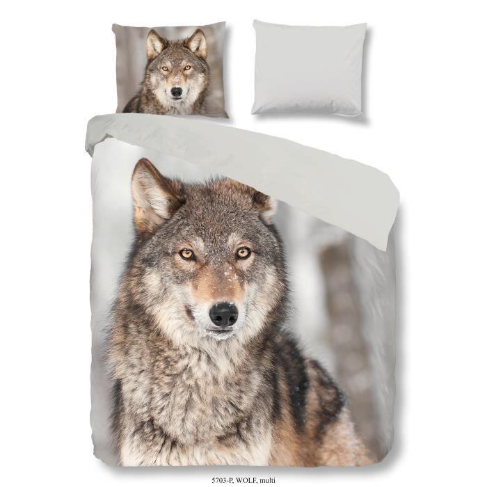 Good morning parure de couette scandinave wolf 100 coton - Housse de couette loup ...