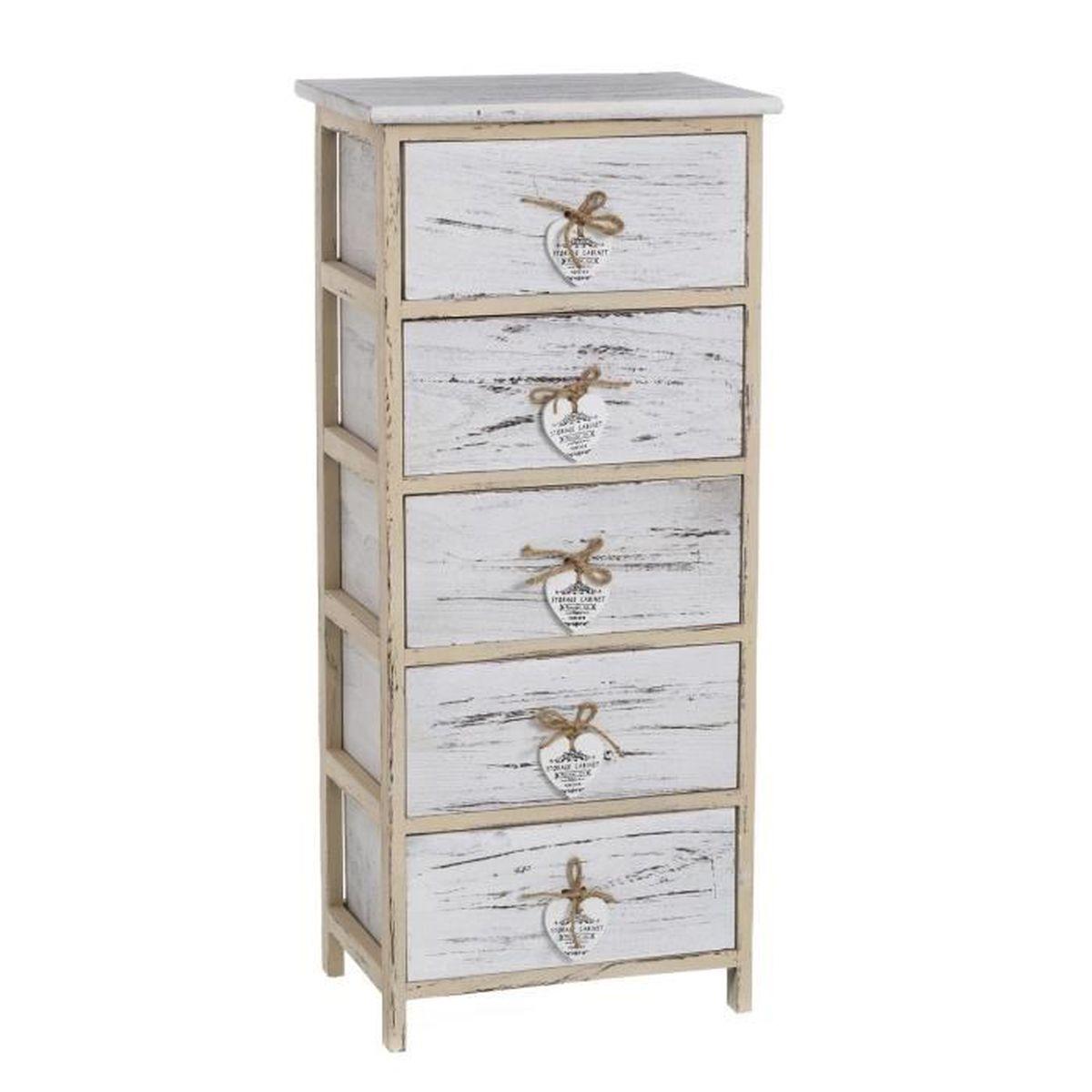 Meuble 5 tiroirs coeur collection casaseleccion achat for Meuble 5 tiroirs