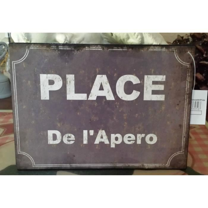 Plaque place de l 39 apero achat vente objet d coration for Plaque de decoration murale