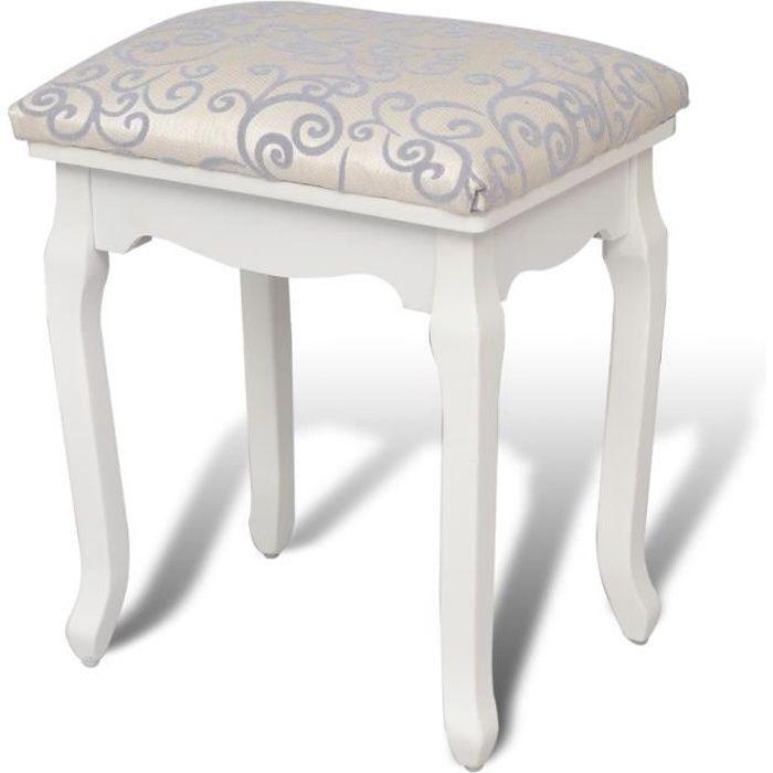 Magnifique tabouret pouf pour coiffeuse en bois blanc Chaise pour coiffeuse