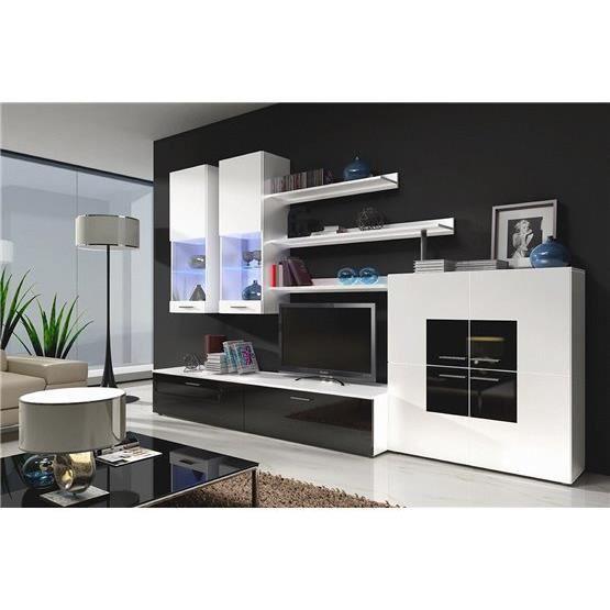 Meuble tv design lemna blanc et noir composition bois for Meuble salon blanc et noir