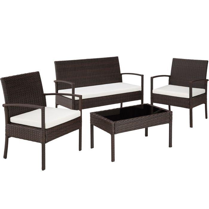 Salon de jardin 2 fauteuils 1 canap 1 table en r sine - Salon de jardin resine tressee cdiscount ...