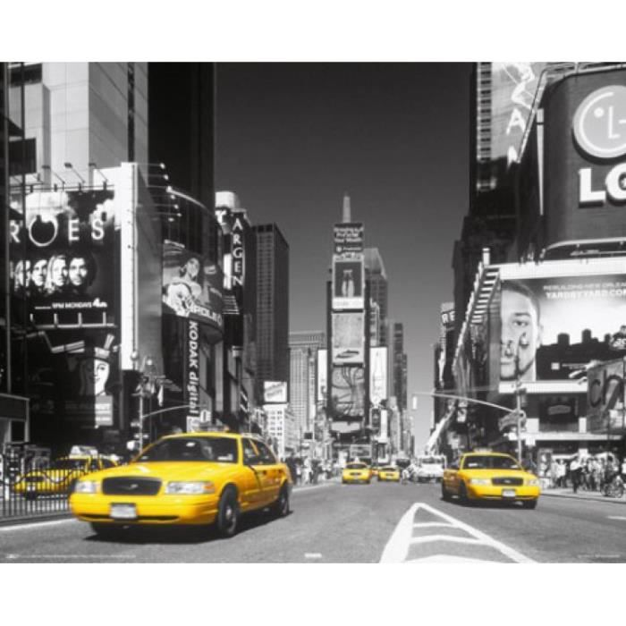 New york mini poster times square taxi jaune achat for Art et maison new york