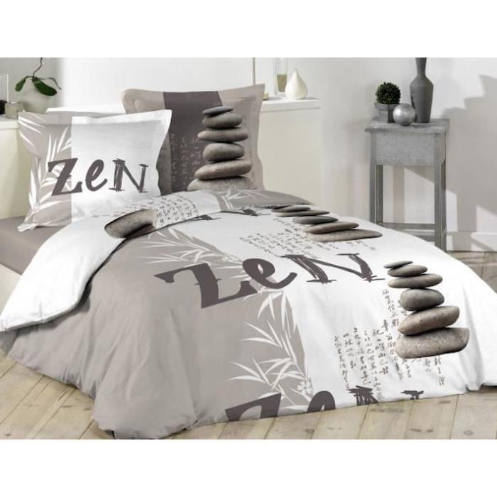 Housse de couette grise et blanche zen bambou 220 x 240 2 for Housse de couette blanche coton