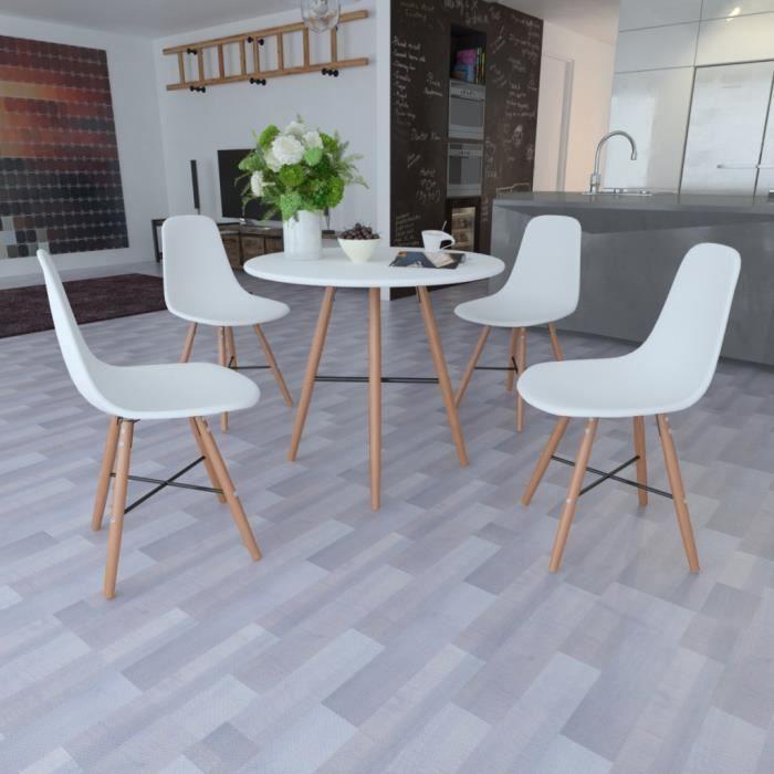 Set 1 table ronde et 4 chaises sans accoudoirs coloris blanc achat vente - Table ronde et 4 chaises ...
