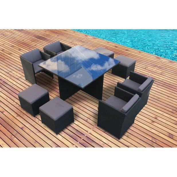 Magnifique salon de jardin familia en resine encastrable luxe gris poly rotin pour 8 personnes Salon de jardin luxe vendome