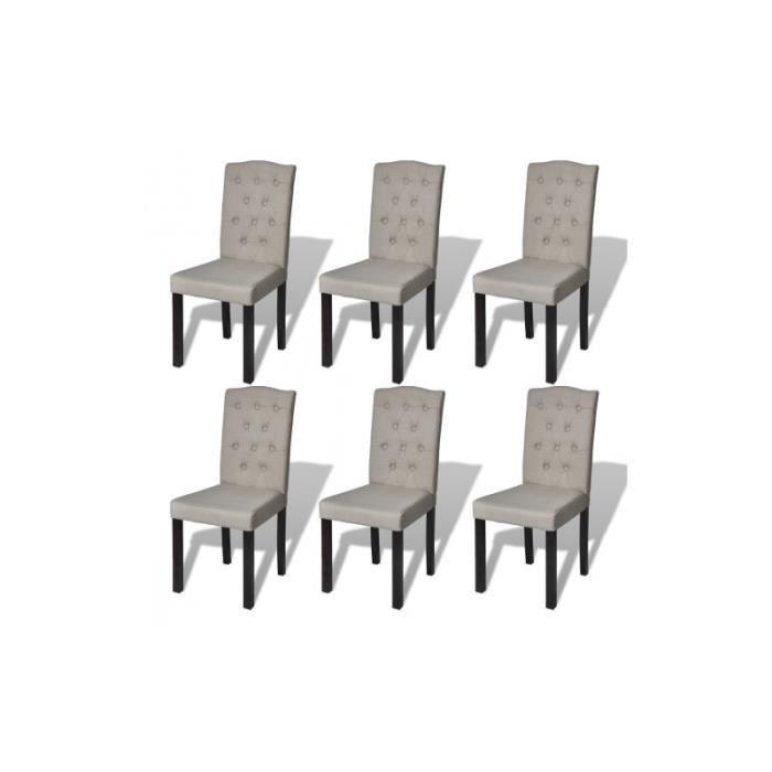 Ensemble de 6 chaises de salle manger salon beige for Ensemble salle salon