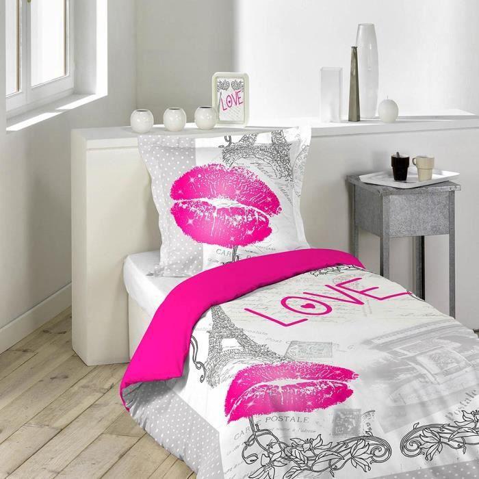 housse de couette love paris 140x200cm 100 coton achat vente housse de couette soldes. Black Bedroom Furniture Sets. Home Design Ideas
