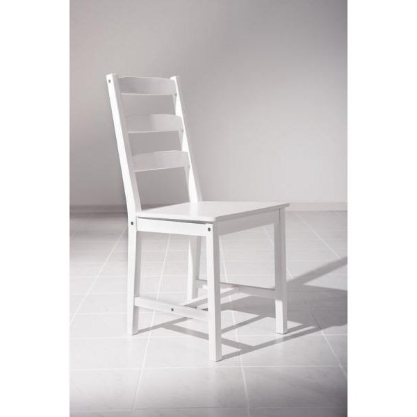 Chaise claudia pin massif teinte blanc achat vente for Chaise en pin massif