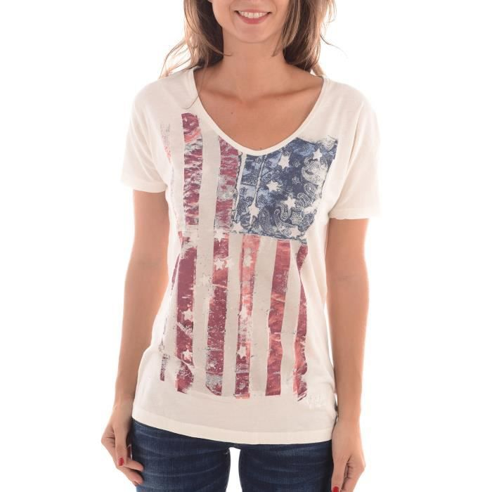 tops tee shirts femme pepe jeans blanc achat vente t shirt cdiscount. Black Bedroom Furniture Sets. Home Design Ideas