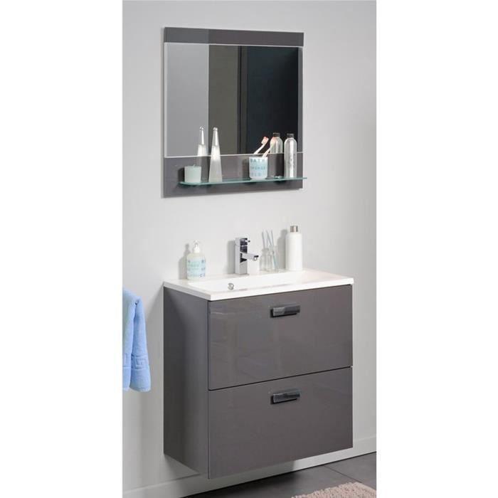 bloc de sdb avec un sous vasque une vasque et un miroir avec tablette coloris gris brillant
