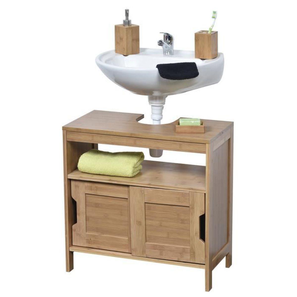 meuble dessous lavabo en bambou achat vente meuble