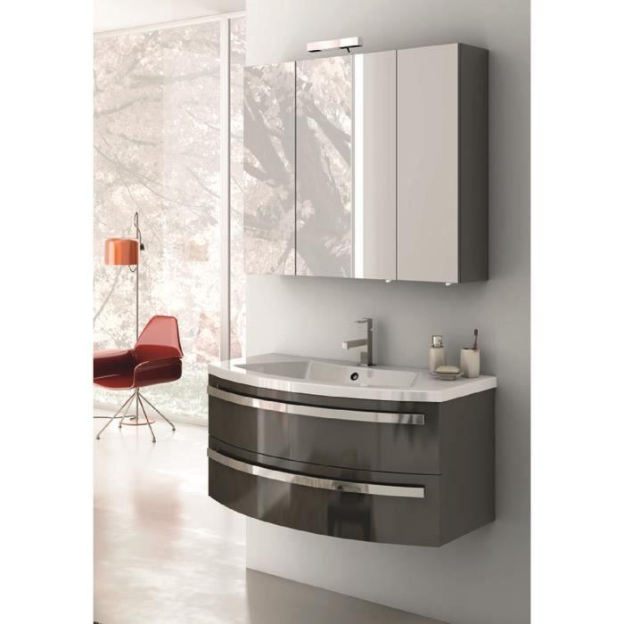 assunta meuble pour salle de bains avec vier et miroir avec finition gris anthracite brillant. Black Bedroom Furniture Sets. Home Design Ideas