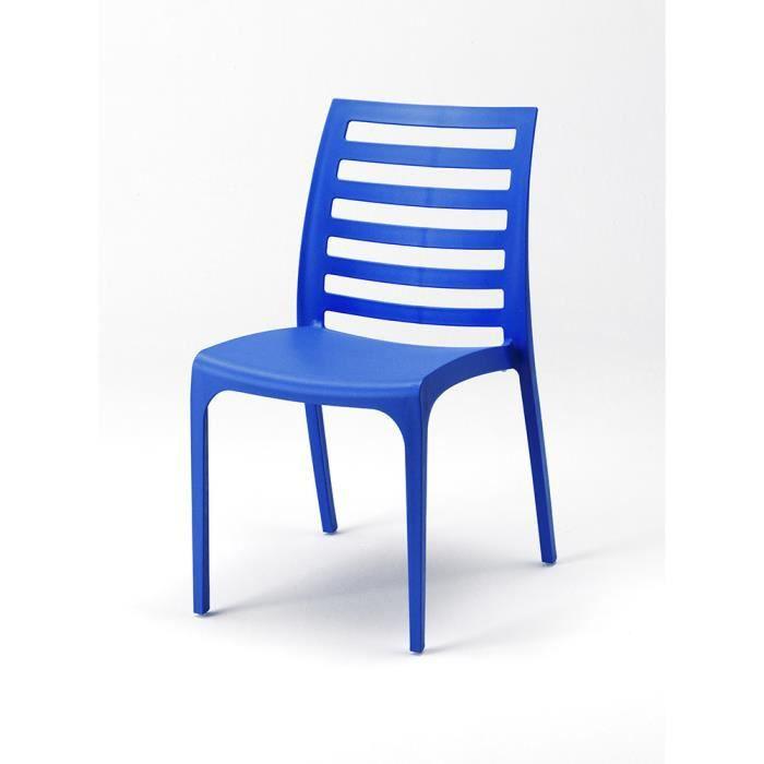 4 chaise bleu en plastique resine empilable color caf for Chaise en tissu colore