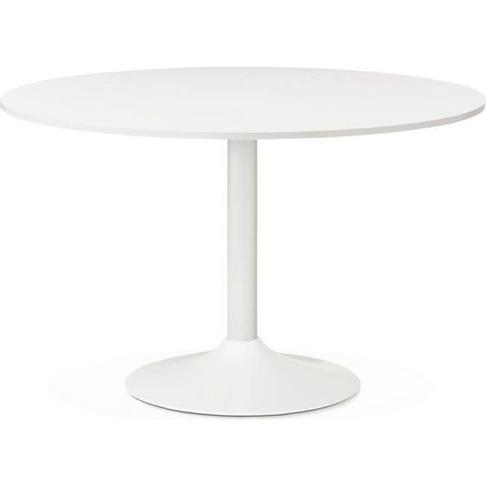 Table diner ronde 39 orlando 39 blanche achat vente for Table a manger ronde blanche