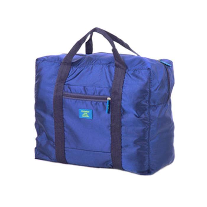 sac de voyage pliable solide zipp trousse de bagage imperm able l ger en nylon bleu fond bleu. Black Bedroom Furniture Sets. Home Design Ideas