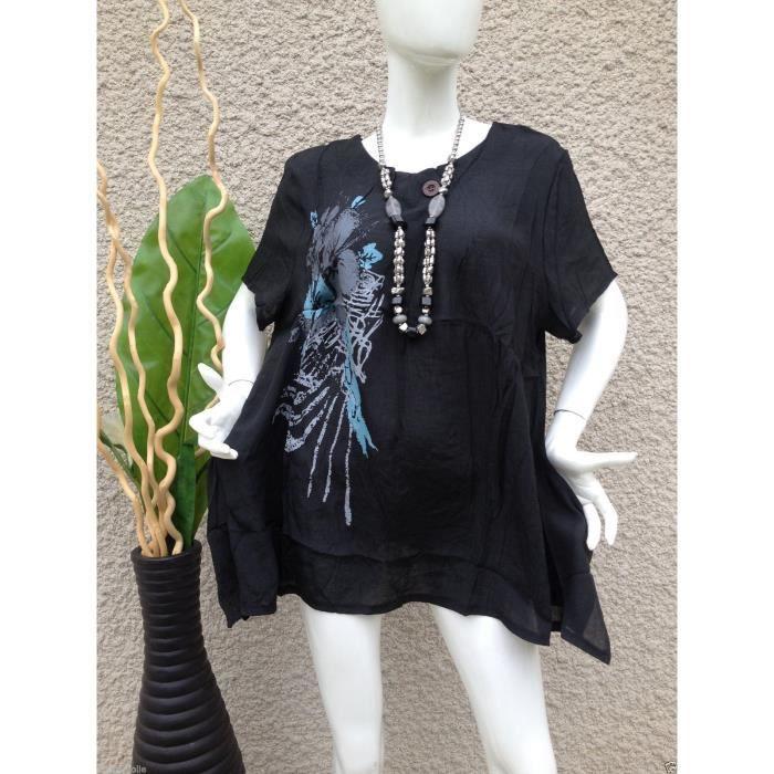 tunique grande taille 42 44 46 ample chic femme noir achat vente tunique 2009944333906. Black Bedroom Furniture Sets. Home Design Ideas