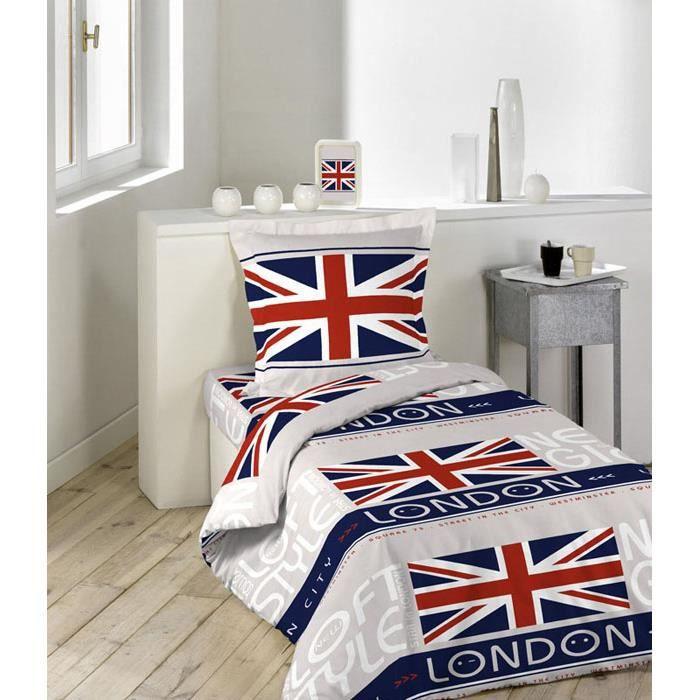 parure de couette 2 pi ces 140x200 london style achat vente parure de couette cdiscount. Black Bedroom Furniture Sets. Home Design Ideas