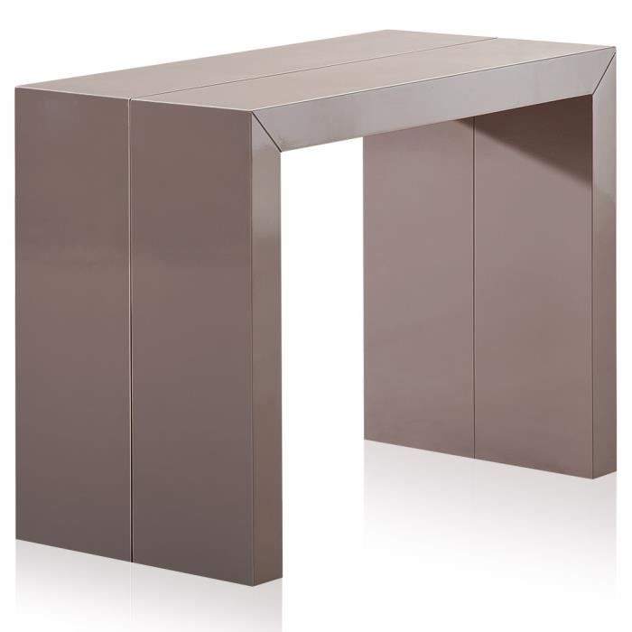 Table console nassau xl laqu e taupe achat vente - Table laquee extensible ...