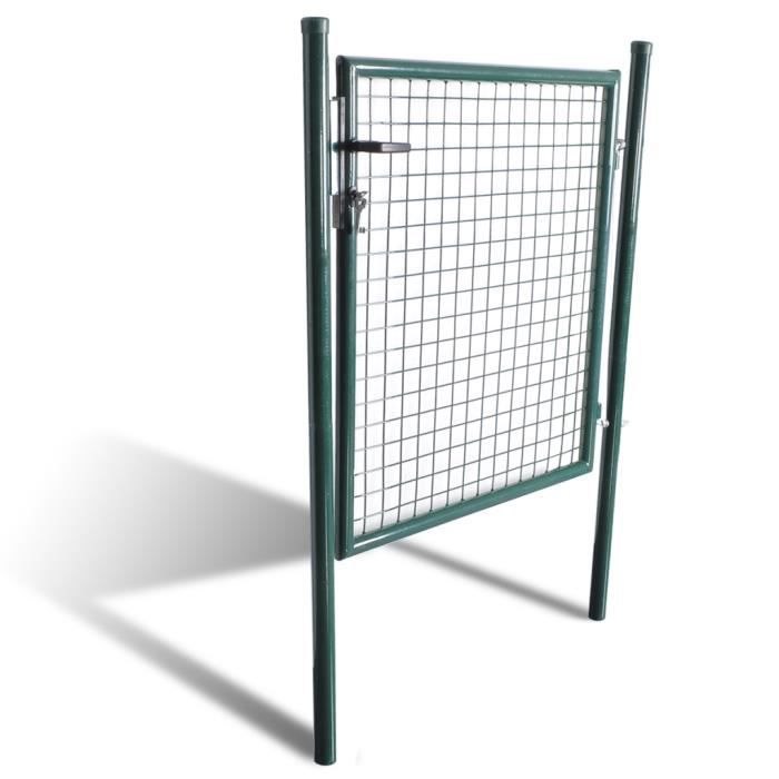 Vidaxl porte portail de cl ture en grillage galvanis e 100 for Porte cloture