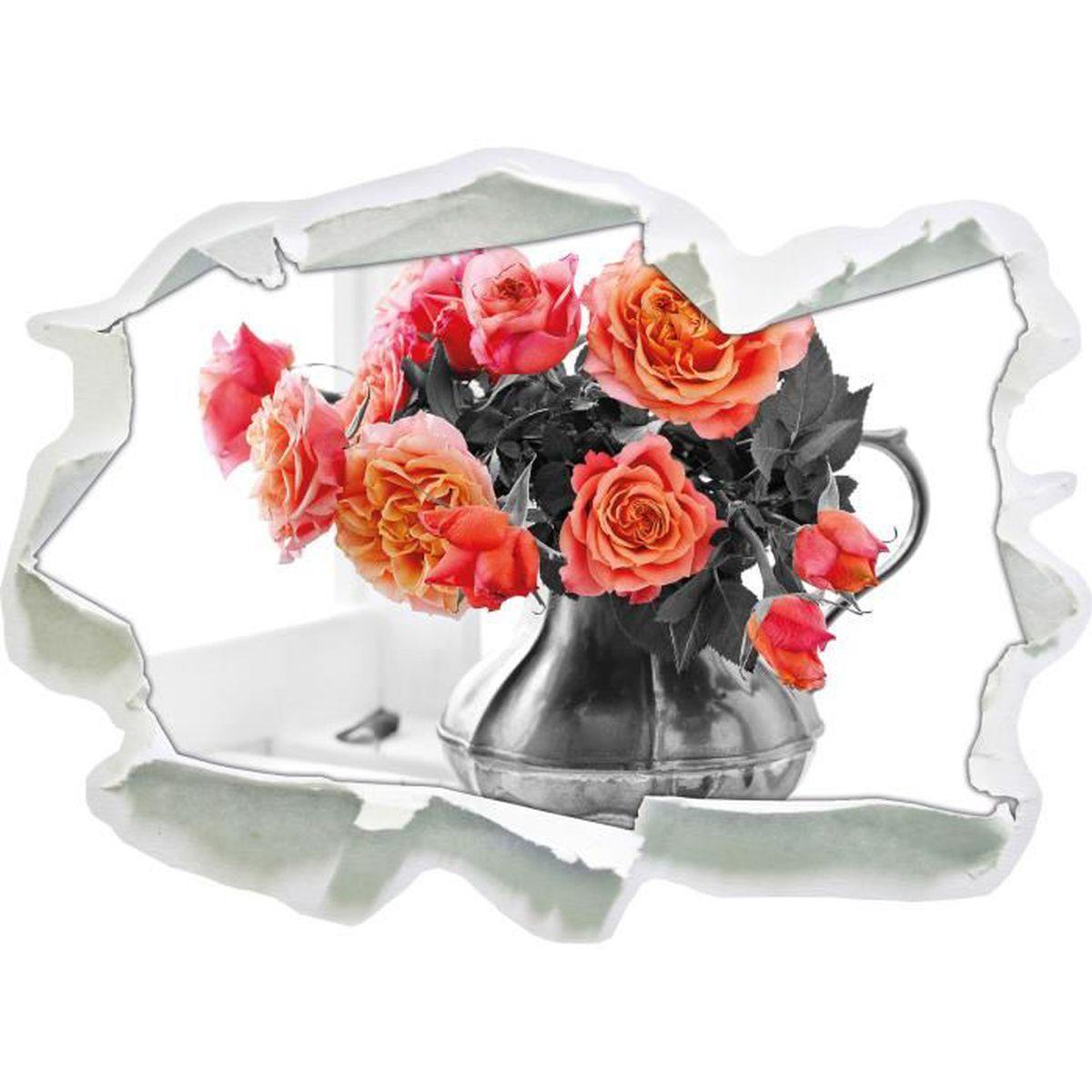 Belles roses en pot noir / blanc, mur 3D de la taille du papier ...