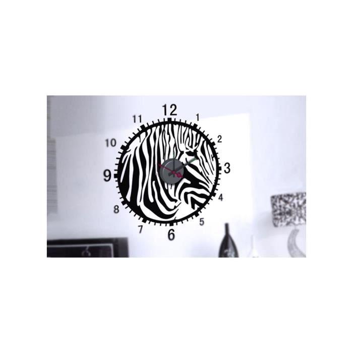 Horloge murale sticker design zebre achat vente for Deco murale zebre