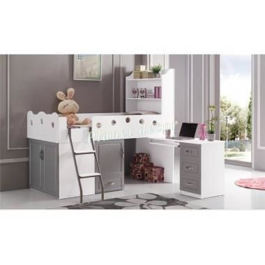 lit enfant multifonction elisa gris achat vente lit. Black Bedroom Furniture Sets. Home Design Ideas