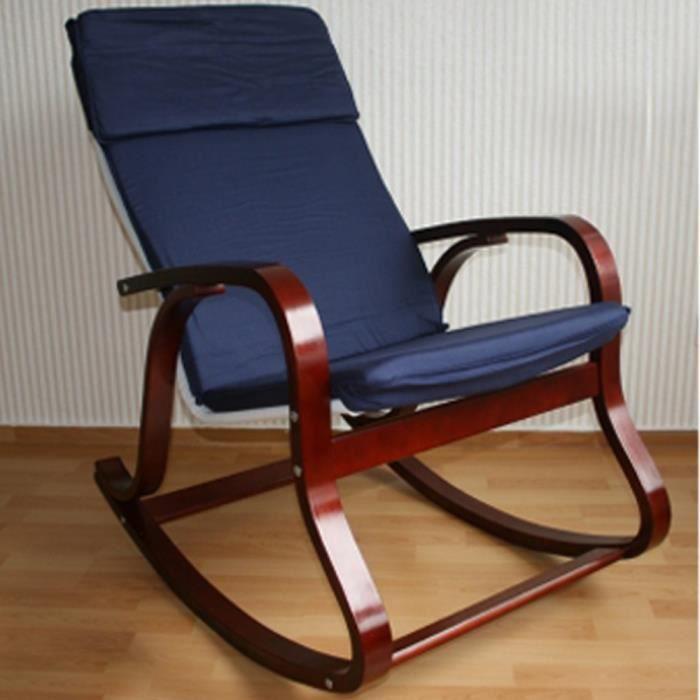 rocking chair fauteuil bascule relaxant en bleu achat vente fauteuil bois h tre tissu. Black Bedroom Furniture Sets. Home Design Ideas