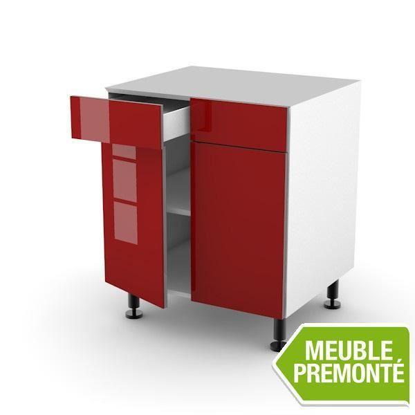 Meuble bas 60cm 2 tiroirs 2 portes 70x30 cristal rouge achat vente elements bas meuble bas for Meuble 70x30