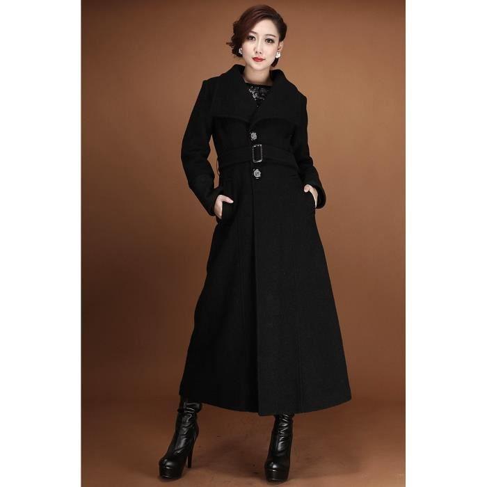 long manteau noir en laine noir achat vente manteau caban soldes cdiscount. Black Bedroom Furniture Sets. Home Design Ideas