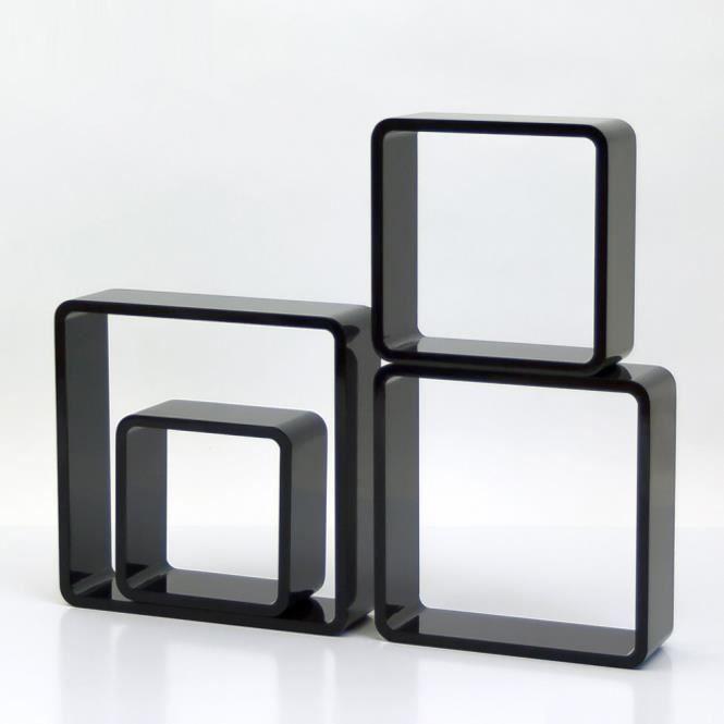 tag re cube murale en bois de 4 pi ces noir achat vente etag re murale tag re cube murale. Black Bedroom Furniture Sets. Home Design Ideas