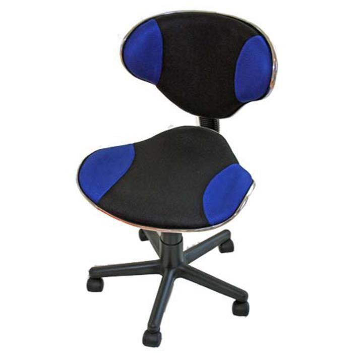 Chaise de bureau g nes en pu coloris bleu h90 achat for Chaise de bureau bleu