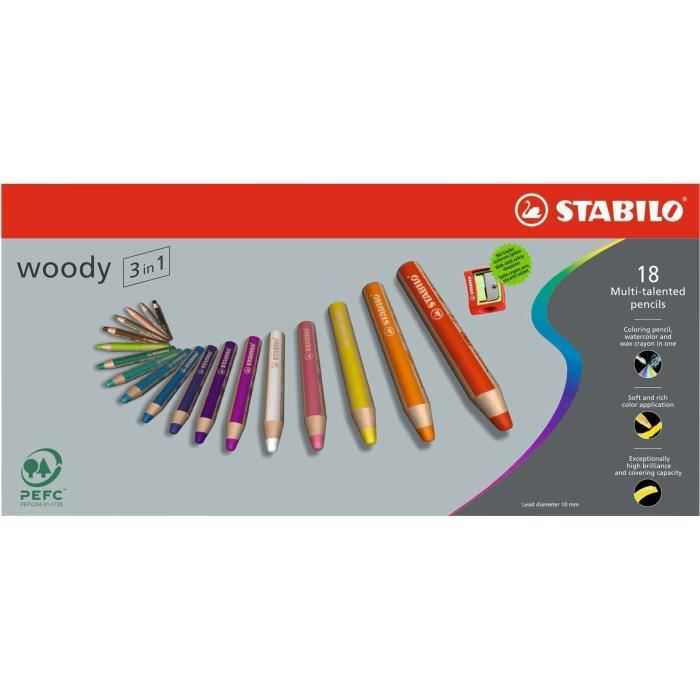 stabilo tui carton de 18 mine woody 1 taille crayon avec s curit enfant gratuit achat. Black Bedroom Furniture Sets. Home Design Ideas