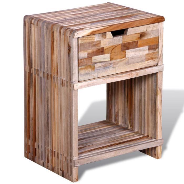 Table de chevet de chambre avec tiroir en teck recycl for Chevet mural avec tiroir