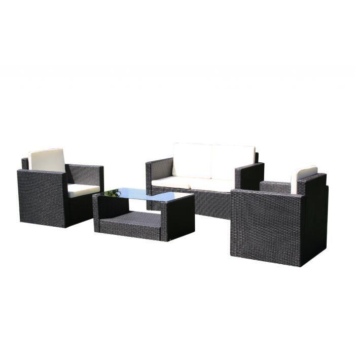 Salon de jardin droit lounge noir en r sine achat vente salon de jardin s - Salon de jardin en resine cdiscount ...