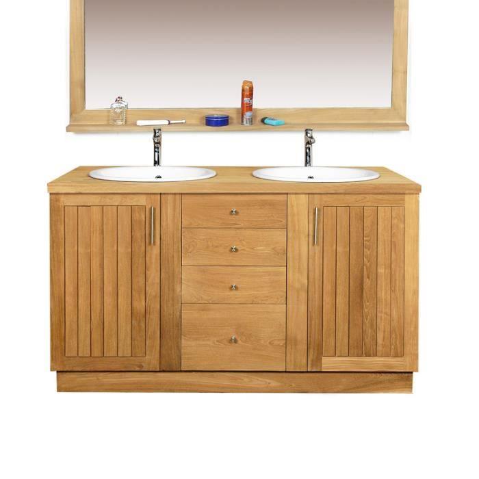 meuble salle de bain en teck 150 cm badalona 2 vasques achat vente armoire de toilette. Black Bedroom Furniture Sets. Home Design Ideas