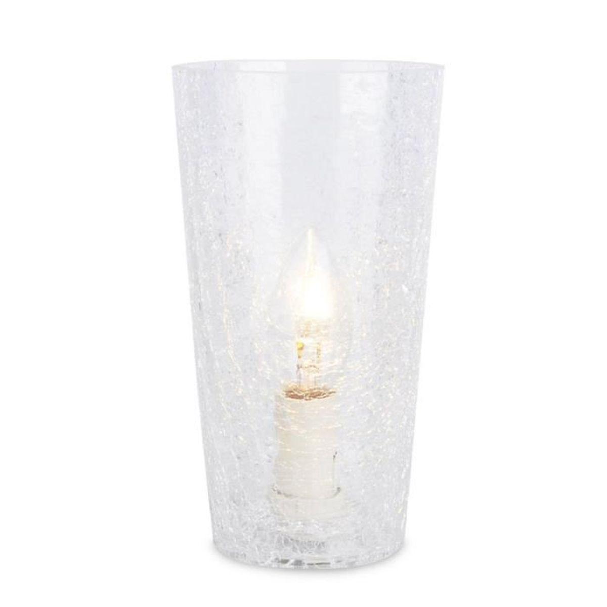 Lampe de table ou chevet rhona cylindre en verre effet for Verre pour lampe de chevet