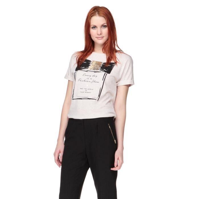 new look t shirt gris et noir femme gris et noir achat vente t shirt soldes cdiscount. Black Bedroom Furniture Sets. Home Design Ideas