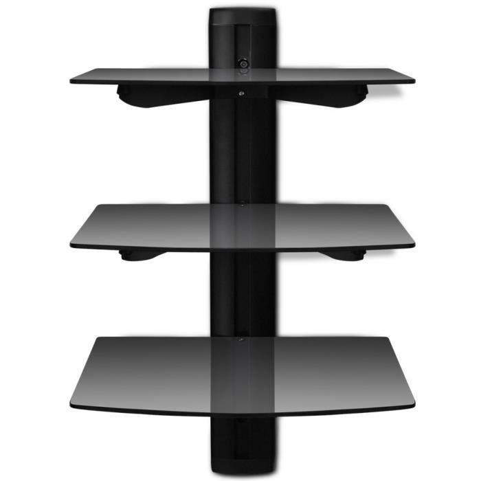meubles audio video et pour home cinema etagere murale noire a 3 tablettes en verre pour dvd. Black Bedroom Furniture Sets. Home Design Ideas