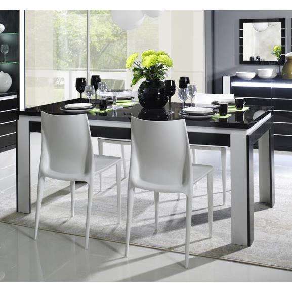 table manger noir et blanc laqu design erica 3 table 160 cm achat vente table a manger. Black Bedroom Furniture Sets. Home Design Ideas