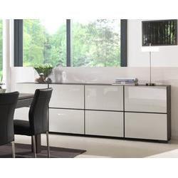 buffet bahut en placage ch ne gris fonc ou gris clair laqu contemporain tara l245 x p48 x h84. Black Bedroom Furniture Sets. Home Design Ideas
