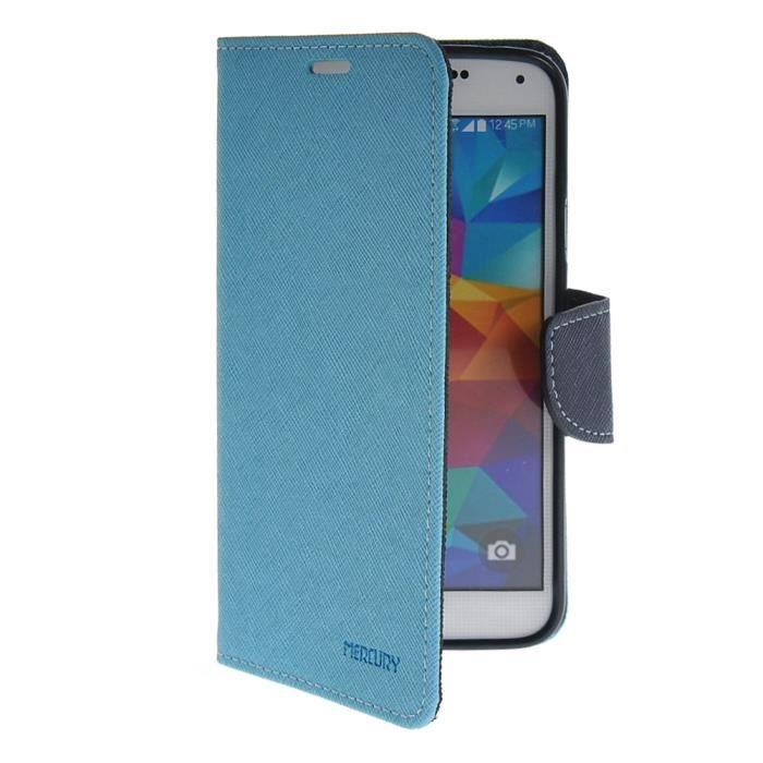 Housse flip case coque tui samsung galaxy s5 bleu achat for Housse samsung galaxy s5