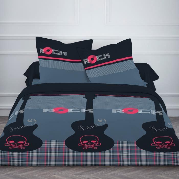 Housse de couette 220x240 princess rock avec deux taies d 39 oreiller acha - Housse de couette princesse 2 personnes ...