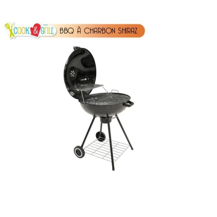 Barbecue charbon rond shiraz sur roulettes achat - Barbecue rond charbon ...
