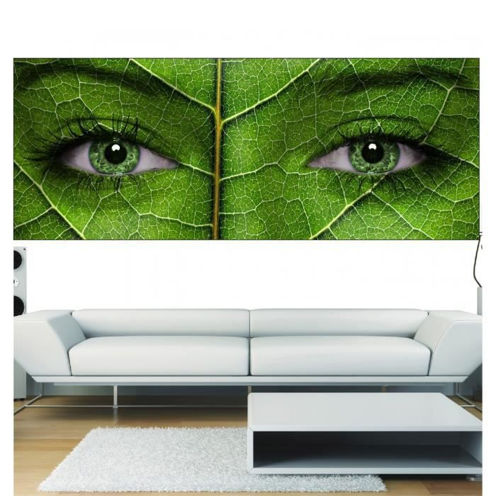 Stickers panoramique d cor yeux feuille verte dimensions for Decoration yeux