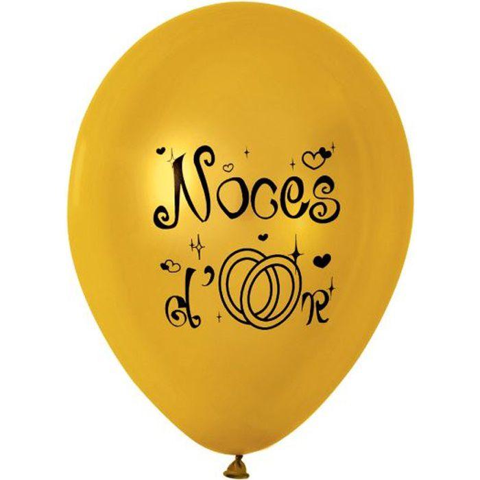 Sachet de 10 ballons or 39 39 noces d 39 or 39 39 achat vente ballon d coratif les soldes sur - Decoration noce d or ...